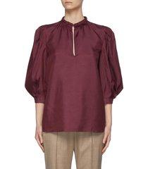 """berry' puffed sleeve buckle collar silk blouse"
