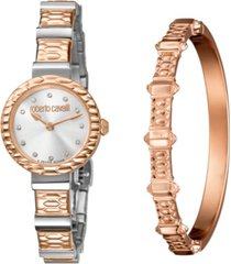 roberto cavalli by franck muller women's swiss quartz two-tone rose gold stainless steel watch & bracelet gift set, 26mm