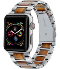 men's and women's silver-tone stainless steel wood for apple watch 42mm
