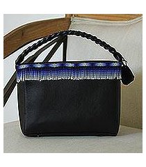 leather handbag, 'jubilant sky' (mexico)