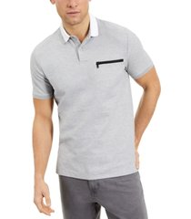 dkny men's regular-fit zip-pocket polo shirt