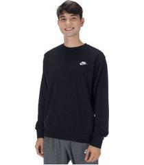 blusão de moletom nike sportswear club crew ft - masculino - preto