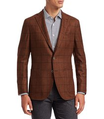 saks fifth avenue men's collection tweed windowpane wool soft suit jacket - rust - size 42 r
