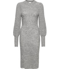 mika knit dress jurk knielengte grijs second female