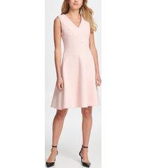 dkny v-neck compression fit & flare dress