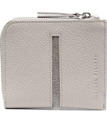 fabiana filippi monili embellished zip-around wallet - grey