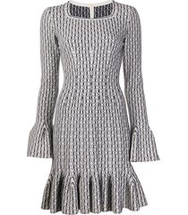 alaïa pre-owned stretch weave ruffled dress - white