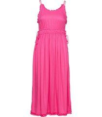 viscose summer midi dress with straps knälång klänning rosa scotch & soda