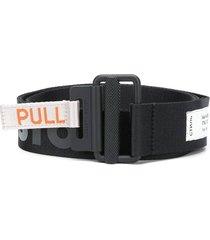 black woven tape belt