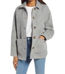 women's madewell walton shirt jacket, size x-large - grey