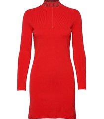 neck logo fitted sweater dress korte jurk rood calvin klein jeans
