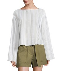 flare bell-sleeve striped cotton voile top