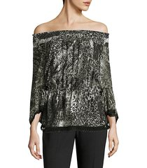 zoia off-the-shoulder printed blouse