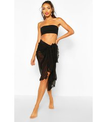 pom pom multiwear beach sarong, black