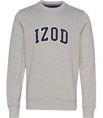 izod applique fleece crew sweat-shirt tröja grå izod