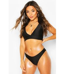 petite mix & match plunge bikini top, black