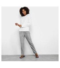 pijama longo hering poá feminino