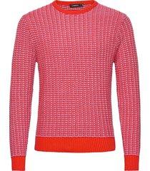 chester-structure knit gebreide trui met ronde kraag rood j. lindeberg