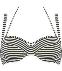 holi vintage plunge balcony bikini top | wired padded blue-ecru - 32b