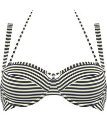 holi vintage plunge balcony bikini top | wired padded blue-ecru - 40dd/e
