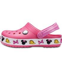sandália crocs crocband minnie clog kids rosa - kanui