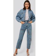 na-kd jeans med lös passform - blue