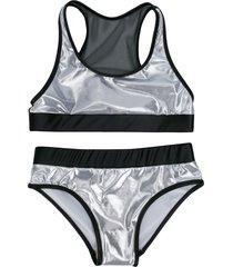 andorine metallic-tone bikini set - silver