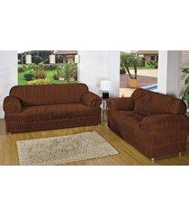 capa de sofá atual 2 e 3 lugares tabaco com 2 peças malha elástica - aquarela