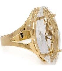 anel banho de ouro navete cristal
