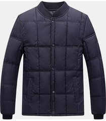 giacca da colletto per uomo, calda e calda, colore solido invernale