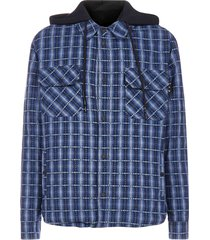 off-white check print cotton hooded jacket