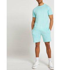 river island mens green t-shirt and shorts set