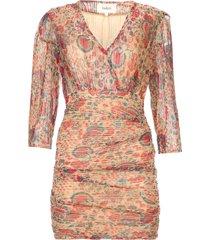 zijden jurk met lurex amelia  rood