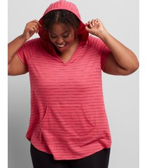 lane bryant women's livi striped hooded tunic 14/16 carmine pink