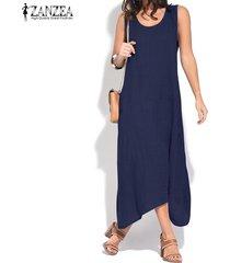 zanzea mujeres del verano sin mangas del vestido del tanque asimétrico camisa floja vestido vestido de tirantes plus -azul marino