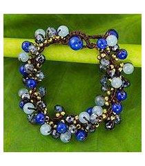 beaded bracelet, 'blue cattlelaya' (thailand)