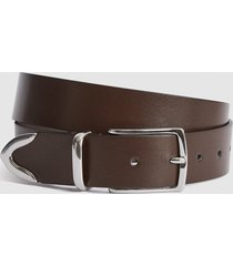 reiss henning - leather belt in brown, mens, size 36