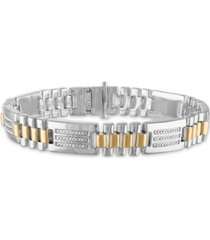 "men's 1/2 carat diamond 8 1/2"" bracelet in sterling silver and 10k yellow gold"