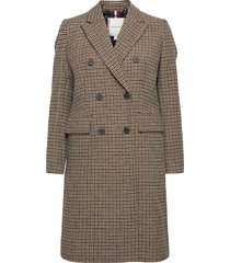 db wool blend pattern coat wollen jas lange jas beige tommy hilfiger
