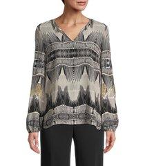 kobi halperin women's felicia ikat silk blouse - taupe multi - size xs