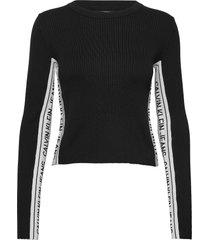 stripe logo sweater t-shirts & tops long-sleeved zwart calvin klein jeans