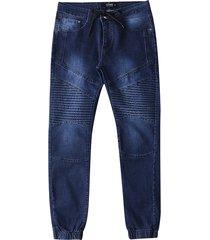 hombres plisados largos pantalones dobladillo cónico jeans