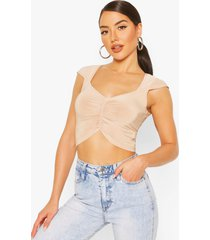 ruched front v neck top, stone