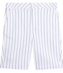 bermuda con estampado a rayas color blanco, talla 10