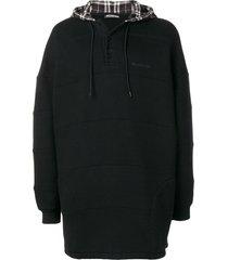 balenciaga patchwork hoodie - black
