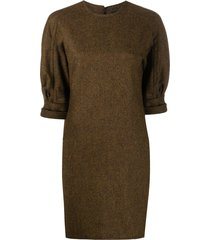 dsquared2 puff-sleeved mini shift dress - brown