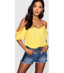woven strappy open shoulder top, yellow