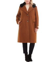 calvin klein plus size single-breasted faux-fur walker coat