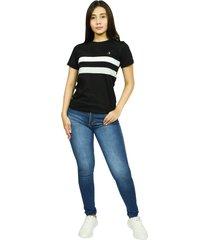 camiseta cuello redondo smith negro para mujer