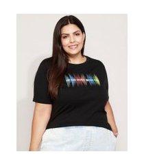 "camiseta feminina plus size now united let the music move you"" manga curta decote redondo preta"""